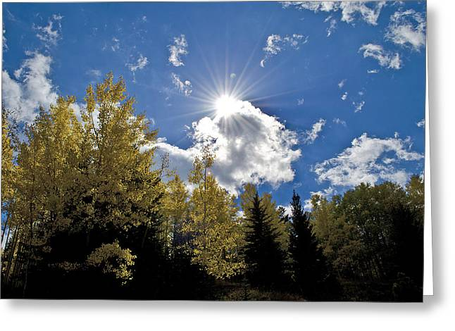 Sun Rays Across Colorado Mountain Greeting Card