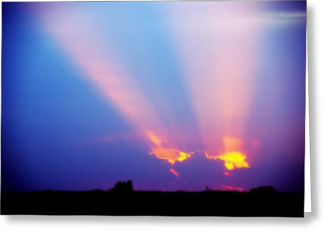 Sun Rays At Sunset Greeting Card