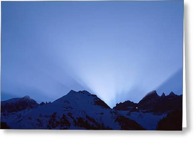 Sun Rays, Canton Glarus, Switzerland Greeting Card by Panoramic Images