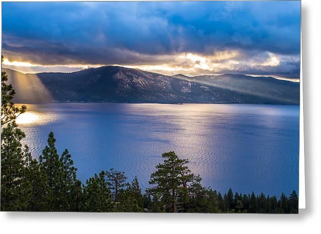 Sun Rays On Lake Tahoe Greeting Card by Marc Crumpler