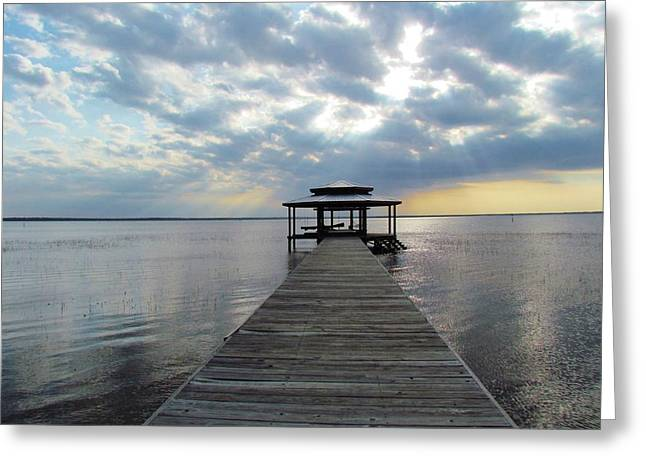 Sun Rays On The Lake Greeting Card by Cynthia Guinn
