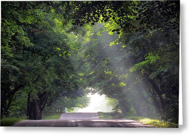 Sun Rays On Waters End Road Greeting Card