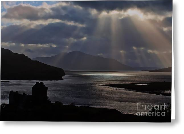 Sun Rays Over Eilean Donan Castle Greeting Card