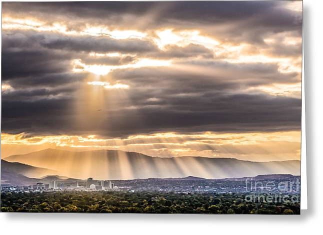 Sun Rays Over Reno Greeting Card by Janis Knight