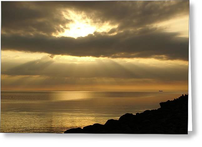 Sun Rays / Sea Pier Greeting Card by Gynt