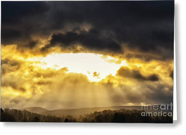 Sun Rays Stormy Sky Greeting Card by Thomas R Fletcher