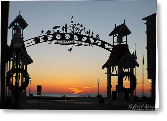 Sun Reflecting On Clouds Ocean City Boardwalk Arch Greeting Card
