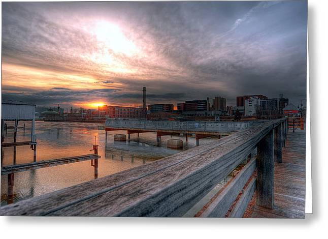 Sun Rise Over Erie Pa Greeting Card by Brian Fisher