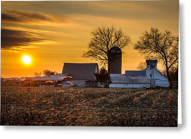 Sun Rise Over The Farm Greeting Card