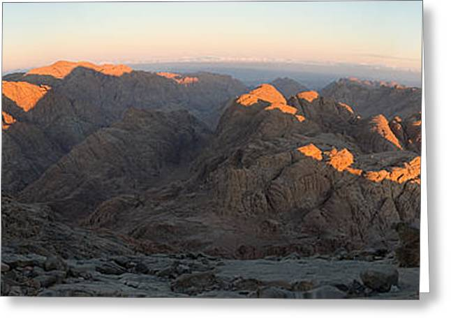 Greeting Card featuring the photograph Sun Rising On Sinai - Wide Angle Panorama by Julis Simo