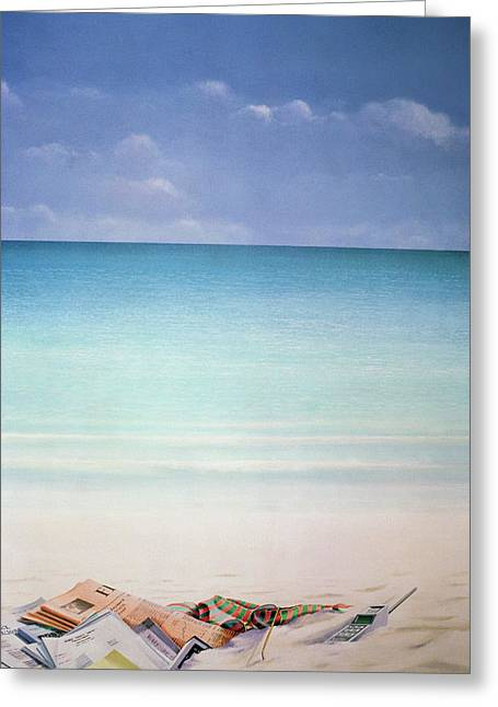 Sun, Sand And Money I Greeting Card by Lincoln Seligman