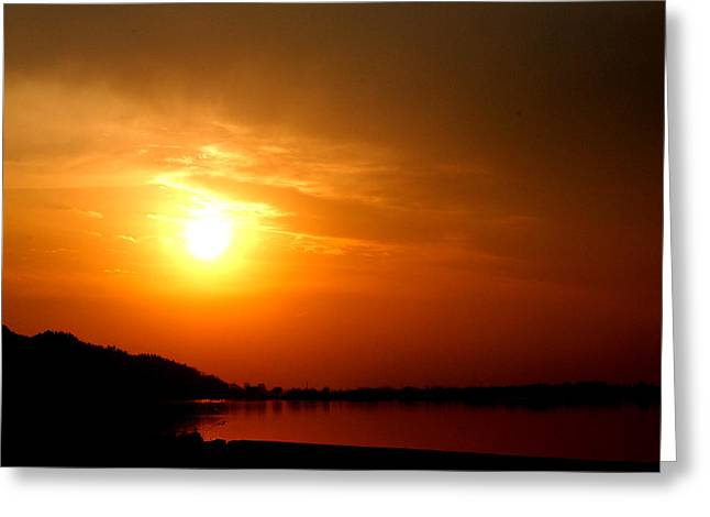 Sun Set- Viator's Agonism Greeting Card by Vijinder Singh