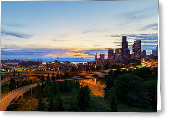 Sun Sets On A Pridefull City Greeting Card