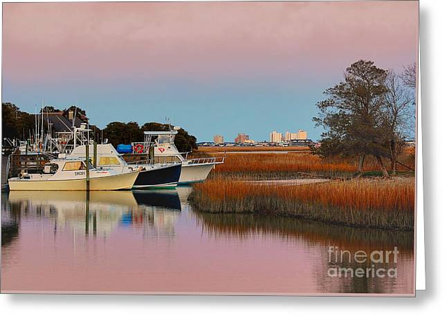 Sun Setting At Murrells Inlet Greeting Card