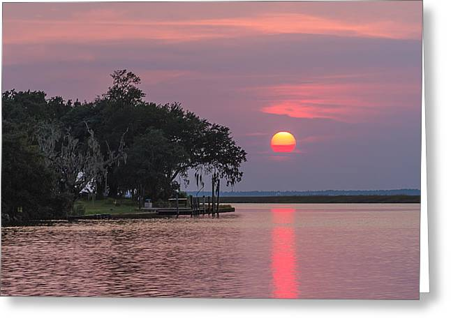 Sun Setting In The Bayou Greeting Card by Brian Wright