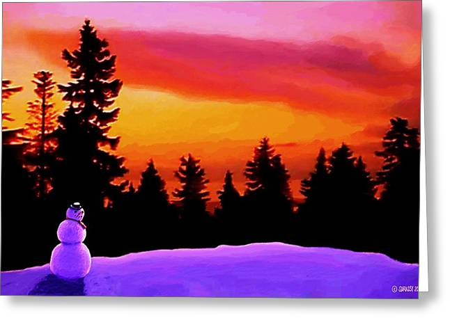 Sun Setting On Snow Greeting Card
