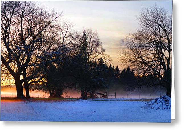 Sun Setting On Snow With Fog On The Ground Behind Greeting Card