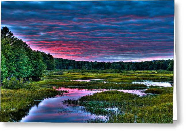 Sun Setting On The Moose River Greeting Card by David Patterson