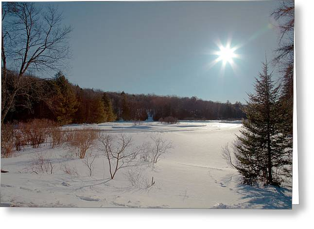 Sun Setting On The Moose River - Old Forge New York Greeting Card by David Patterson