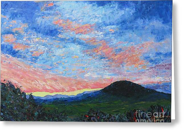 Sun Setting Over Mole Hill - Sold Greeting Card by Judith Espinoza