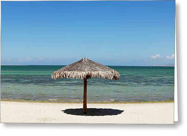 Sun Shade On The Beach Of La Paz, Baja Greeting Card by Panoramic Images
