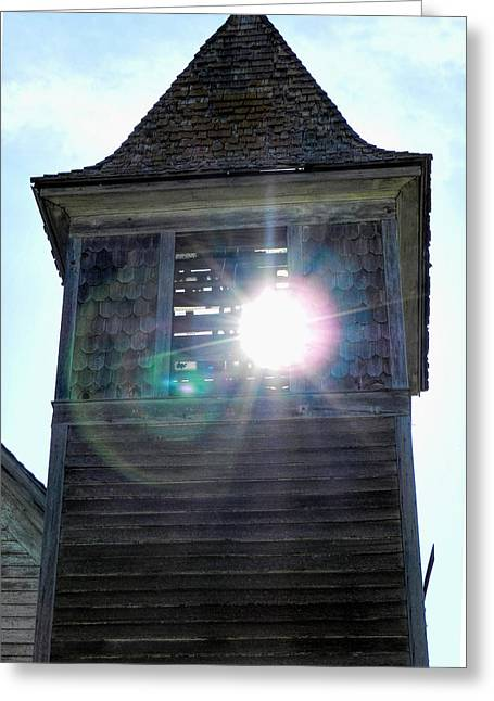 Sun Through The Steeple-by Cathy Anderson Greeting Card