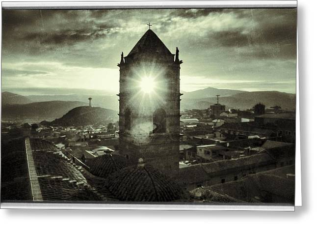 Sun Tower Of Potosi Black And White Vintage  Greeting Card by For Ninety One Days