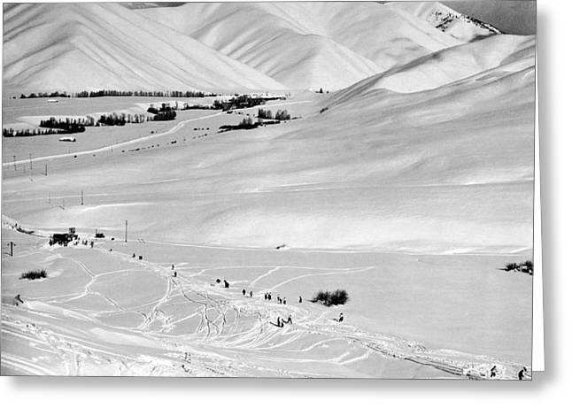 Sun Valley New Ski Resort Greeting Card by Underwood Archives