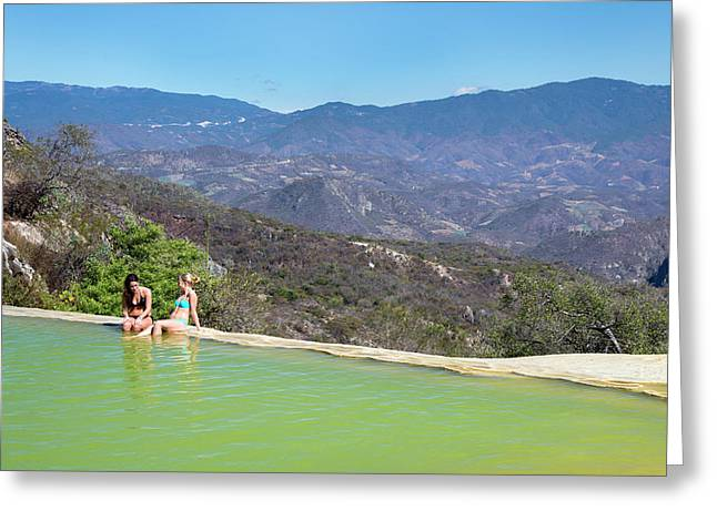 Sunbathers At A Geothermal Pool Greeting Card