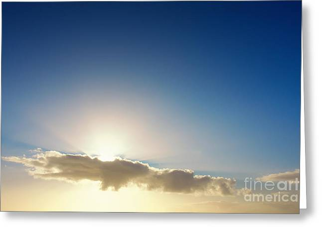 Sunbeams Behind Clouds Greeting Card