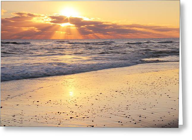 Sunbeams On The Beach Greeting Card by Roupen  Baker