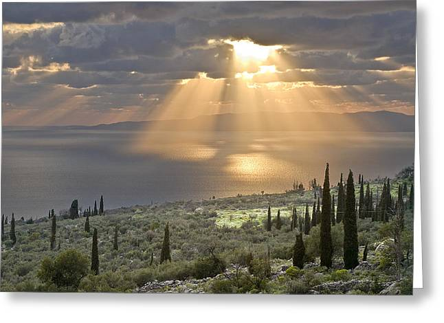 Sunburst Across The Gulf Of Messenia Greeting Card by Peter Eastland