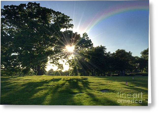 Sunburst At The End Of A Rainbow Greeting Card