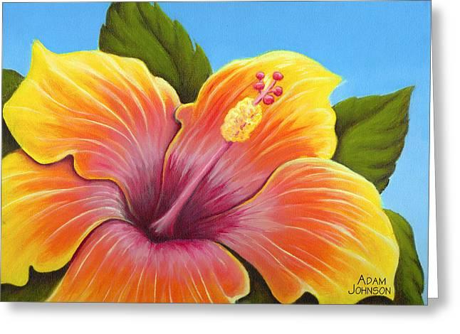Sunburst Hibiscus Greeting Card by Adam Johnson