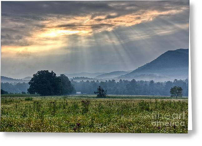 Sunburst Over Cades Cove Greeting Card by Douglas Stucky