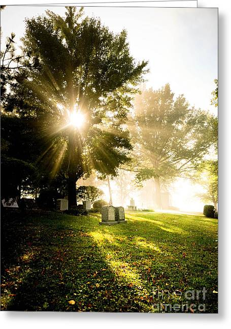 Sunburst Over Cemetery Greeting Card by Amy Cicconi
