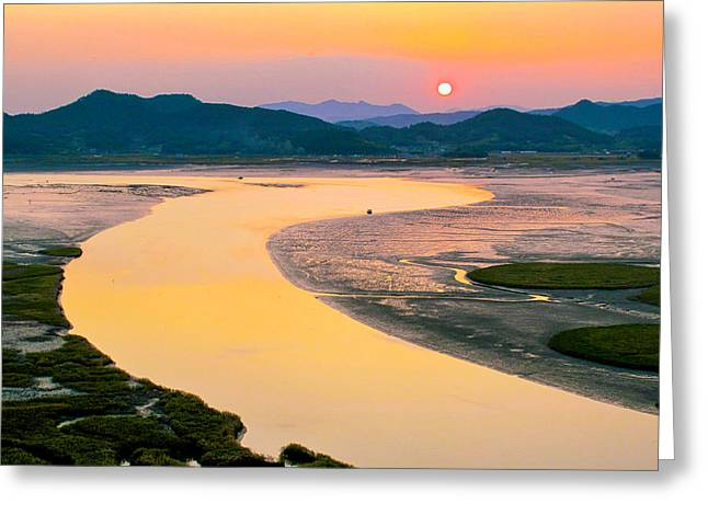 Suncheon Bay Sunset Greeting Card