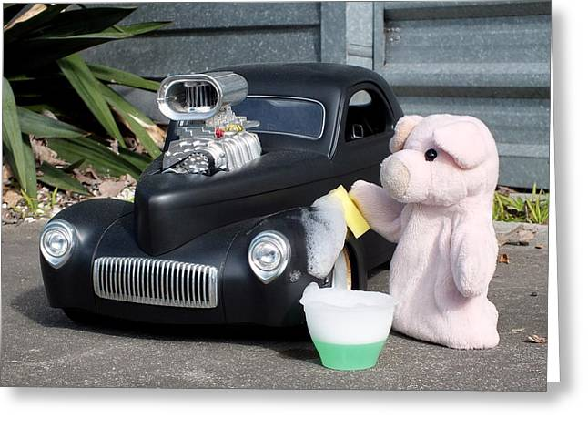 Sunday Afternoon Carwash Greeting Card by Piggy