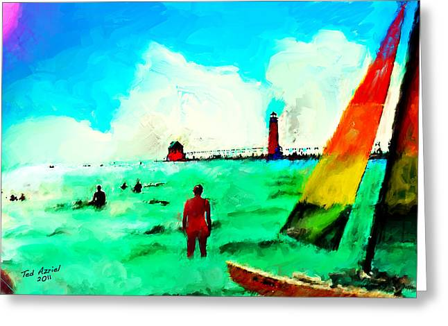 Greeting Card featuring the painting Sunday At Grand Haven by Ted Azriel