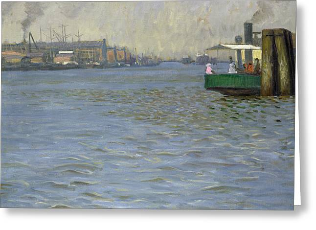 Sunday Atmosphere On The Elbe Greeting Card