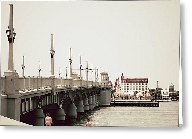 Sunday By The Bridge - Fl Greeting Card