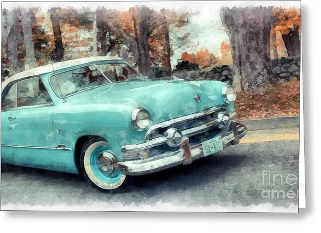 Sunday Drive Greeting Card by Edward Fielding