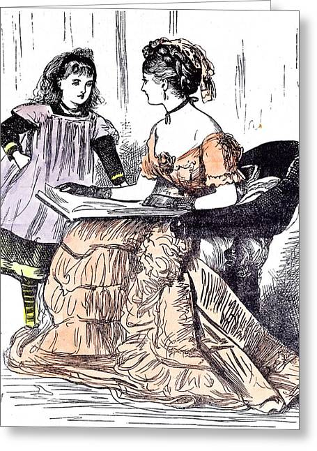 Sunday Evening Girl And Mother 1874 Book Reading Sitting Greeting Card by English School
