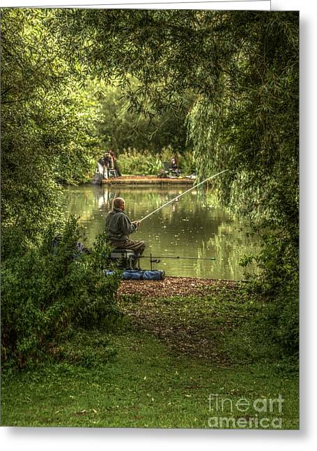 Greeting Card featuring the photograph Sunday Fishing At The Lake by Jeremy Hayden