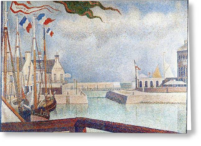 Sunday In Port-en-bessin Greeting Card by Georges Seurat