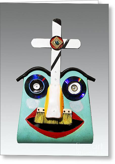 Sunday Mask Greeting Card by Bill Thomson