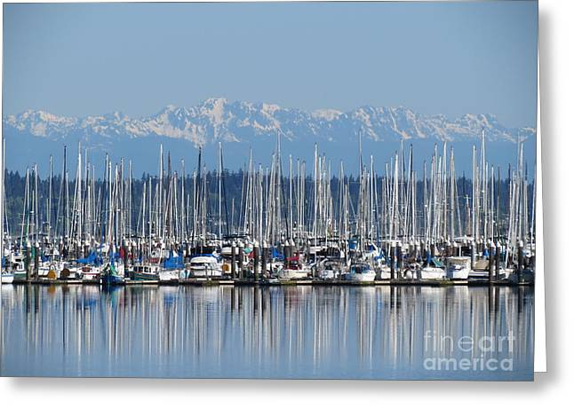 Sunday Morning Masts Greeting Card by Gayle Swigart