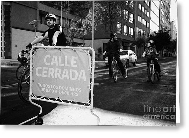 sunday morning roads closed for cyclists and walkers Santiago Chile Greeting Card by Joe Fox