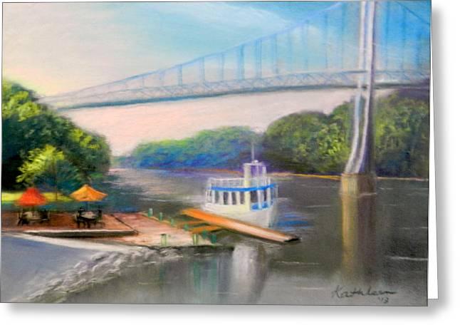 Sunday On The Hudson Greeting Card by Kathleen Bonadonna