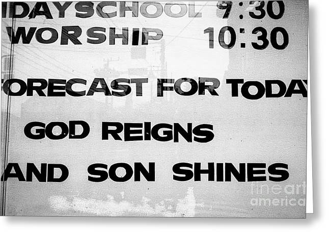 Sunday School Worship - God Reigns And Son Shines Greeting Card by Dean Harte